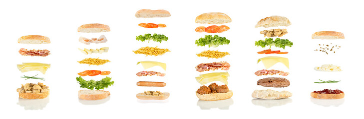 six different sandwiches floating