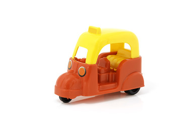 plastic toys on white background
