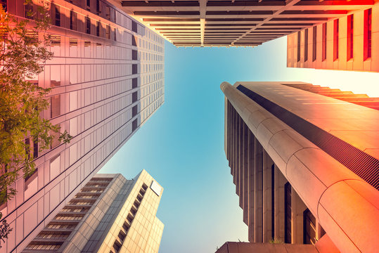 Adelaide abstract architecture viewing upwards. Color-toning applied