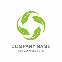 Organic Farm Green Leaf Infinity Circle Vector Logo Template