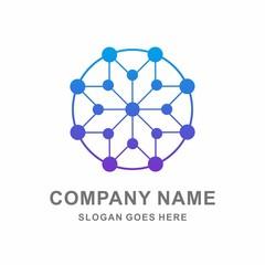 Geometric Star Dot Circle Connection Vector Logo Template