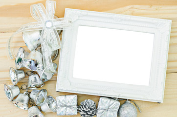 Blank vintage white photo frame with silver decoration christmas