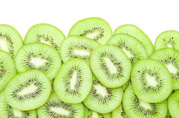 Slices of kiwi fruit.