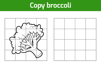 Copy the picture. Fruits and vegetables, broccoli