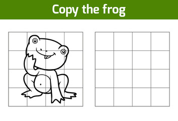 Copy the picture for children. Animal characters, frog