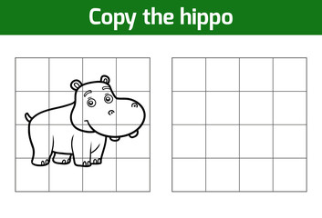 Copy the picture for children. Animal characters, hippo