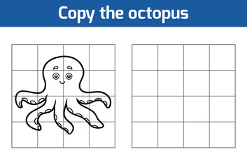 Copy the picture for children. Animal characters, octopus