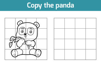 Copy the picture for children. Animal characters, panda