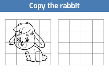 Copy the picture for children. Animal characters, rabbit