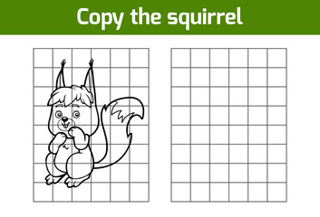 Copy the picture for children. Animal characters, squirrel
