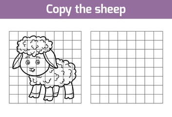 Copy the picture for children. Animal characters, sheep