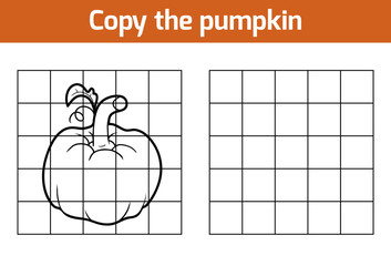Copy the picture. Fruits and vegetables, pumpkin