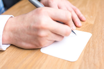 businessman writing white paper