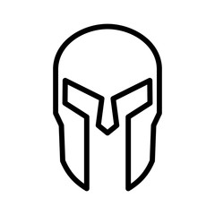 Spartan Greek helmet armor line art icon for apps and websites