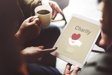 Charity Volunteer Donate Hand Symbol Concept