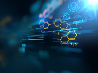 chemical science, medical substance and molecules background 3d