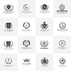 Luxury Logo template set. calligraphic logo. ornament line logo. crest logo, hotel logo template. Royalty, Boutique, Heraldic logo.Elegant emblem monogram luxury logo. vector logo template.
