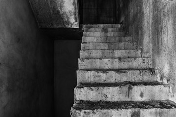 Stair in abandoned building, darkness horror and halloween background concept
