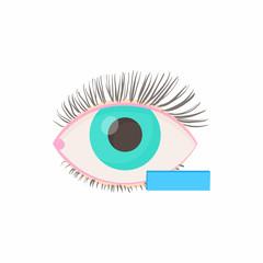 Myopia eyesight disorder icon, cartoon style