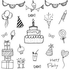 Collection bithday doodle vector art