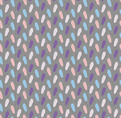 Layered feathers pastels and grey seamless pattern