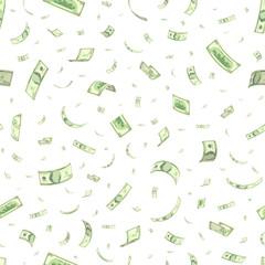 Finance concept. Dollar banknotes money rain. Hundred dollar banknotes flying. Seamless finance background. Vector illustration