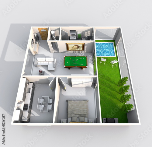 3d Interior Rendering Perspective View Of Furnished Home Apartment With Green Patio And Swimming Pool