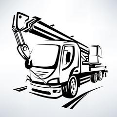 auto crane isolated vector symbol, stylized sketch