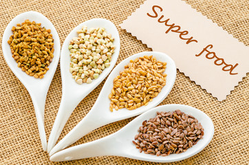 Super food tag with grains.