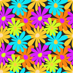 Summer colored flowers on a dark background seamless pattern