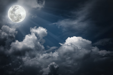 Fototapete - Nighttime sky with clouds, bright full moon would make a great background.