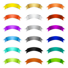 Large set of colorful wavy ribbon banners