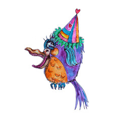 Funny Bird in party hat watercolor isolated cartoon character on white