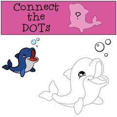 Educational games for kids: Connect the dots. Little cute baby dolphin swims and smiles.