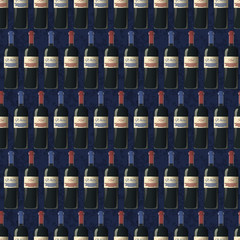 Bottles of red and white wine on dark blue background, seamless pattern