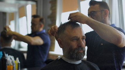 hairdresser  cuts   hair  with scissors on crown client in  professional  hairdressing salon. The gray-haired man in the age of the client in the chair.
