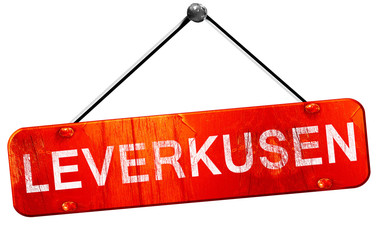 Leverkusen, 3D rendering, a red hanging sign