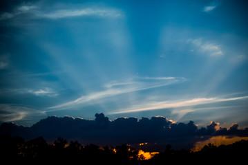 Nice sun ray at sunset time