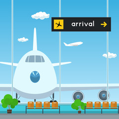 Waiting Room in Airport , View on Airplane through the Window from a Waiting Room , Scoreboard Arrivals at Airport, Travel Concept, Flat Design, Vector Illustration