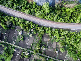 beautiful landscape with road and settlements and plants on sides, aerial photo, top view