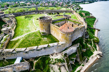 beautiful view on Akkerman fortress in Belgorod-Dniester, Ukraine, aerial photo
