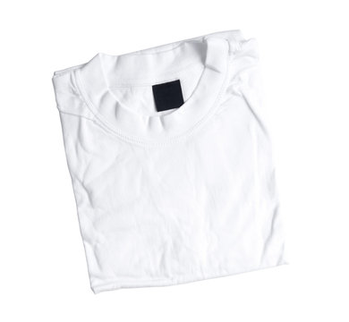 folded white t-shirt isolated on a white background