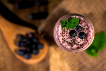 Close up of fruit yougurt smoothie - health living concept.