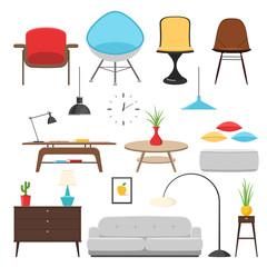 Furniture interior icon set