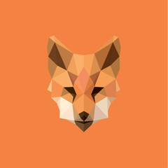 Orange Fox head Polygon Design style f modern logo trends initial submissions, quality the verge