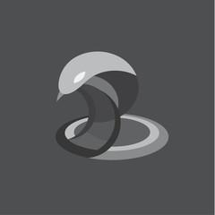 Cobra snake illustration reptile flat on the geometric construction of modern design