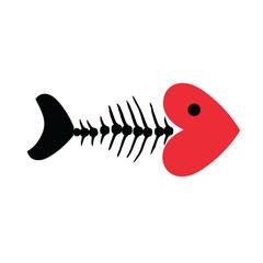 Heart and Fish bone skeleton symbol vector icon logo design.