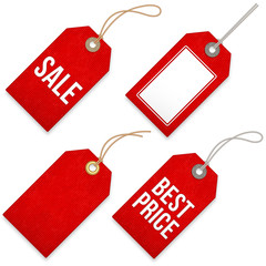 Red Sales vector Price Tags