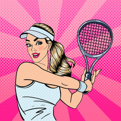 Woman Playing Tennis. Sportswoman with Racket. Healthy Lifestyle. Pop Art