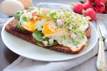 Poached eggs with fresh vegetables on a dark bread